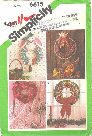 """Simplicity #6617 Thanksgiving-Christmas-Easter-Valentine Soft 17"""" Wreaths FF Pattern"""