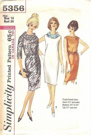 Simplicity #5356 Misses 1960s Slim Dress w/ Smoke Ring Scarf & Self Belt Bust 34 Pattern