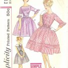 Simplicity #3782 Teen 1960s Ruffled Slv Full Skirt Dress in 3 Views Bust 32 Pattern