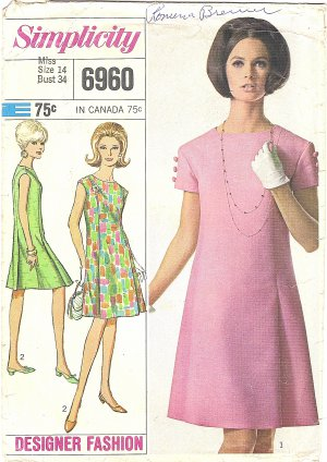 Simplicity #6960 Misses 1960s Designer Princess Line Dress w/ Pleated Skirt Bust 34 Pattern