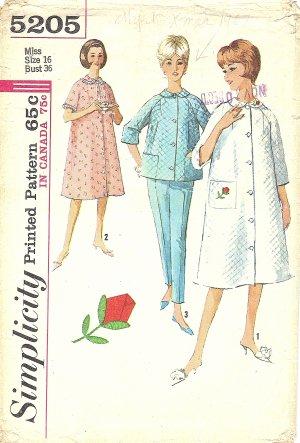 Simplicity #5205 Misses Robe / Brunch Coat / Pajama Set w/ Rose Applique Bust 36 Pattern