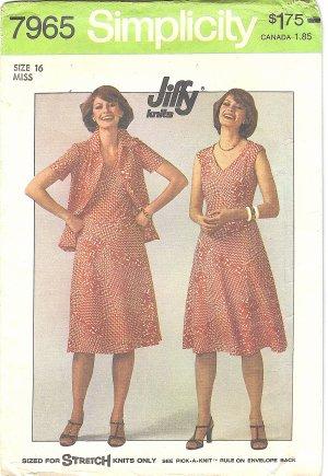 Simplicity #7965 Misses 1970s V Neck Cap Slv Knit Dress and Jacket Bust 38 Pattern