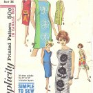 Simplicity #5309 Misses 1960s Novelty Print Straight Dress w/ 3 Necklines & 6 Views Bust 36 Pattern