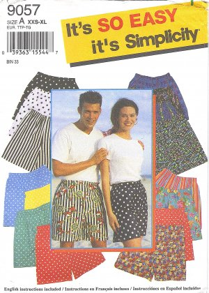 Simplicity #9057 Family Elastic Waist Shorts w/ Faux Fly Front Sz XXS to XL FF Pattern