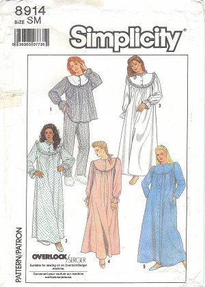 Simplicity #8914 Misses 80s Pajamas / Nightgown / Robe in 5 Views Bust 32 1/2 - 34 Pattern