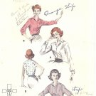 Butterick #8097 Misses 1950s Button Front Shirt Style Blouses in 4 Views Bust 36 Pattern