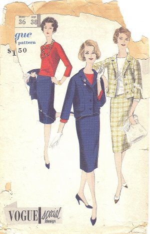 VOGUE #4026 Misses 1950s V Neck Jacket / Slim Skirt / Tuck-In or Overblouse Bust 36 Pattern