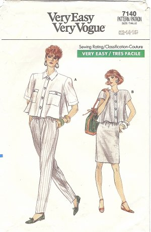 VOGUE #7140 Misses 1980s Trapeze Blouse / Tapered Pant / Slim Skirt Bust 34 Pattern