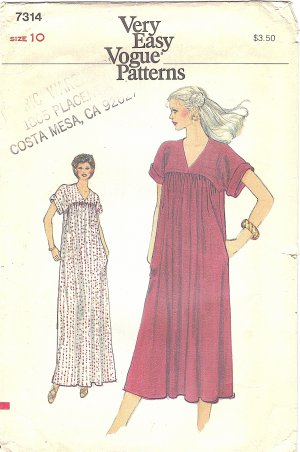 VOGUE #7314 Misses 1980s Loose Fitting Flared Dress in 2 Views Size 10 FF Pattern