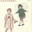 Butterick #5624 Girls 1950s Flared Back Pilgrim Collar Coat in 2 Lengths Size 6 Vintage Pattern