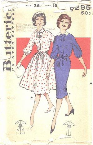 Butterick #9295 Misses 1950s Shirtdress w/ Full or Slim Skirt & Self Belt Bust 36 FF Pattern