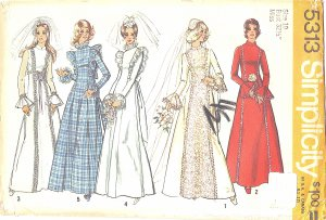 Simplicity #5313 Misses 1970s Bridal Gown or Bridesmaid Dress Bust 32 1/2 FF Pattern