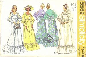 Simplicity #5569 Misses 1970s Wedding Gown and Bridesmaid Dress in 3 Views Bust 32 1/2 Pattern