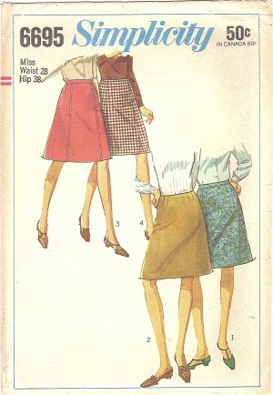 Simplicity #6695 Misses 1960s Basic & Classic A-Line Skirts in 4 Versions Waist 28 Pattern