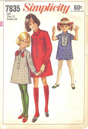 Simplicity #7835 Girls 1960s Button Front Band Shirt Dress in 3 Views Size 12 Pattern