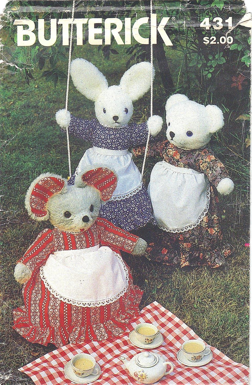 Butterick #431 Stuffed Pajama Bag Bear / Rabbit / Mouse w/ Dress & Apron FF Pattern