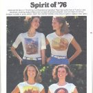 Butterick #4895 1970s Spirit of '76 Iron-On T Shirt Transfers in 4 Prints Unused Pattern
