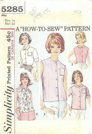 """Simplicity #5285 Misses 1960s Casual Blouses in 5 Views Bust 36 """"How to Sew"""" Pattern"""