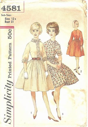 Simplicity #4581 Sub-Teen 1960s Full Gathered Skirt Dress w/ 3 Bodice Views Bust 31 Pattern