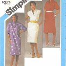 Simplicity #6488 Misses 1980s Rising Neckline Pullover Dress in 3 Versions Bust 34 Pattern
