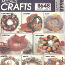 McCalls #8648 Holiday / Decorative Soft Sculpture Wreaths or Ornamental Trim FF Pattern
