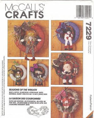 "McCalls #7229 15"" Soft Sculpture Wreaths w/ Seasonal Icon Doll Trims FF Pattern"
