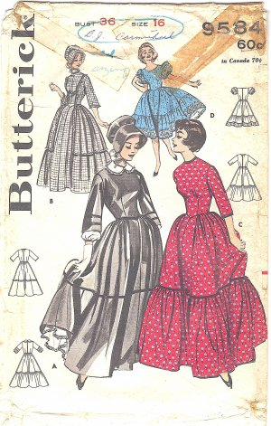 Butterick #9584 Misses 1960s Old West or Squaredance Dresses & Sunbonnet - 4 Views Bust 36 Pattern