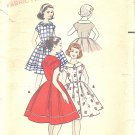 Butterick #8547 Girls 1950s Full Dress w/ Kerchief Neckline Option - 2 Views Sz 8 Vintage Pattern