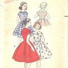 Butterick #8547 Girls 1950s Full Dress w/ Kerchief Neckline Option - 2 Views Sz 8 Vintage Pattern