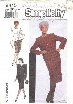 Simplicity #9415 Misses ReTrO 1980s Dressy Jacket & Slim Skirt Sz 6-8-10 Pattern