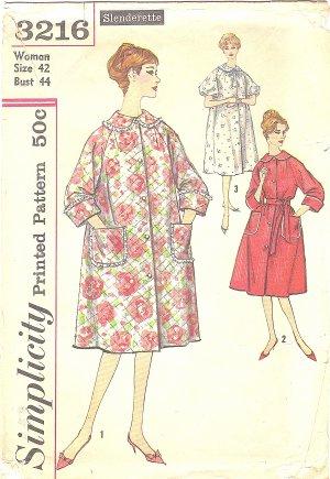 Simplicity #3216 Womens 1950s Slenderette Raglan Slv Robe in 3 Versions Bust 44 Pattern
