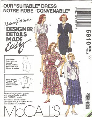 McCalls #5810 Misses 1990s Designer Lined Jacket and Full or Slim Dress Size 22 FF Pattern
