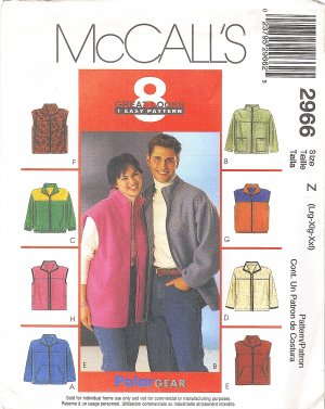 Simplicity #2966 Unisex Unlined Jacket or Vest in 8 Views Sz Large / XL / XXL FF Pattern