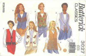 Butterick #3027 Misses Classic Trimmed Out Vests in 6 Views Sz 12 - 14 - 16 FF Pattern