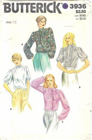 Butterick #3936 Misses ReTrO 80s Romantic Tie Collar Blouses in 4 Views Sz 12 FF Pattern