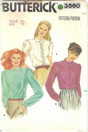 Butterick #3560 Misses ReTrO 80s Ruffle Trimmed Blouses in 3 Views Sz 12 FF Pattern