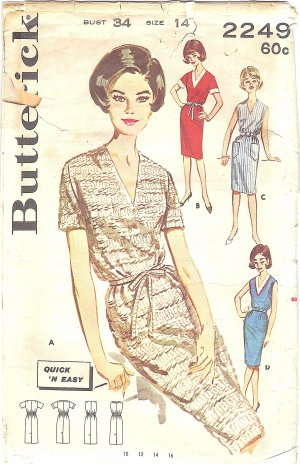 Butterick #2249 Misses 1960s Quick 'N Easy V-Neck Belted Dress in 4 Views Bust 34 Pattern