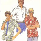 Butterick #6015 Mens 1970s Quick Short Slv Button Front Sport Shirt Size 44 Chest FF Pattern