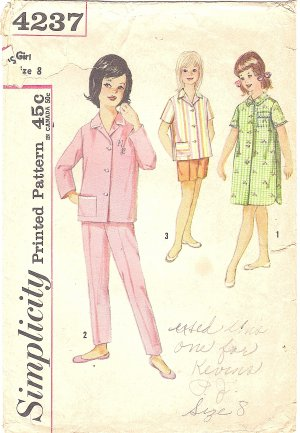 Simplicity #4237 Girls 1960s Button Front Pajama Sets & Nightshirt w/ Transfer Size 8 Sewing Pattern