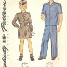 Simplicity #4600 Boys 1940s 2 View Shirt-Trouser-Shorts Sz 8 Vintage Pattern