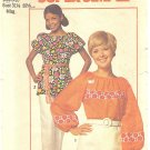 1970s Simplicity #9231 Misses Super Simple Peasant Style Trimmed Blouses Sz 8-10 Pattern