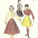 1950s Advance #7847 Teen French Cuff Shirt & 12 Gore Skirt B 30 Vintage Pattern