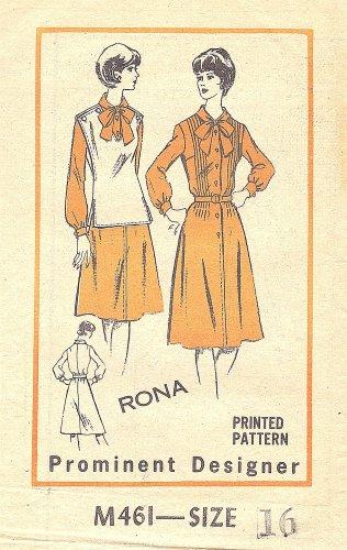 1970s Good Housekeeping #M461 Rona Design Pin/Tuck Bodice Dress-Vest B 38 Pattern