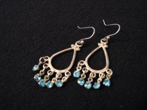 Vintage Silver Tone and Teal Aqua Blue Diamond Rhinestone Dangle Earrings