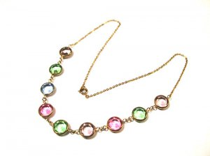 Vintage Deco Pastel Crystal Bezel Set Open Back Necklace
