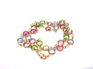 Vintage Deco Multicolored Pastel Crystal Bezel Set Necklace