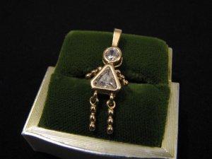 Vintage Vermeil Gold Sterling Silver April Birthstone Girl Pendant