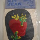 Vintage 60's Green Apple Worm Blue Jean Denim Fashion Repair Patch