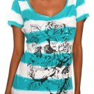 NWT HOT TOPIC Teal White Striped Roses Skulls Top M