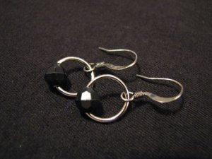 Vintage Silver Tone and Black Plastic Faceted Bead Dangle Pierced Earrings